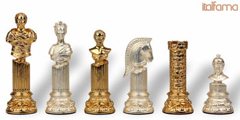Roman Emperor Bust Theme Chess Set Gold & Silver Pieces