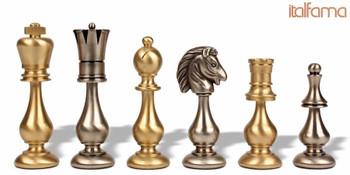 Grande Classic Oriental Staunton Solid Brass Chess Set
