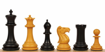 "1849 Heirloom Staunton Chess Set in Antiqued Ebony & Boxwood - 4.4"" King"