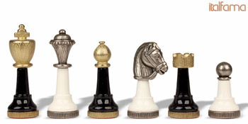 Classic Persian Knight  Chess Set in Brass & Wood (Black & White)