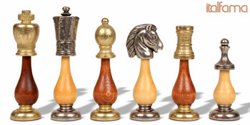 "Persian Metal & Wood Staunton Chess Set - 3.875"" King"