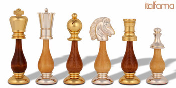 Persian Gold & Silver Plated Brass & Wood Staunton Chess Set