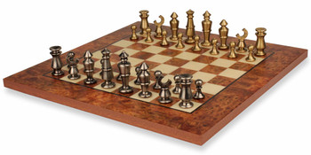 Abstract Knight Brass Chess Set Deluxe Package