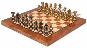 Bookshelf Silhouette Knight Brass Chess Set Package
