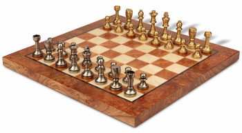 Bookshelf Abstract Knight Brass Chess Set Package