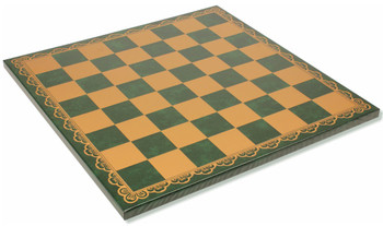 "Italfama Green & Gold Leatherette Chess Board - 2"" Squares"