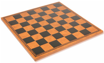 "Italfama Black & Brown Leatherette Chess Board - 1.75"" Squares"