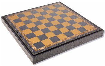 "Italfama Blue & Gold Leatherette Chess Board & Tray - 1.75"" Squares"