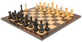 "New Exclusive Staunton Chess Set in Ebonized Boxwood with Macassar Chess Board - 3"" King"
