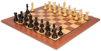 "New Exclusive Staunton Chess Set in Ebonized Boxwood with Mahogany & Maple Chess Board  - 3"" King"