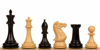 "New Exclusive Staunton Chess Set in Ebonized Boxwood - 3.5"" King"