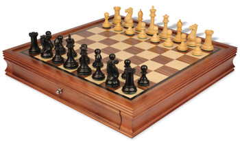 "New Exclusive Staunton Chess Set in Ebonized Boxwood with Walnut Chess Case - 3.5"" King"