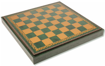 "Italfama Green & Gold Leatherette Chess case - 1.75"" Squares"