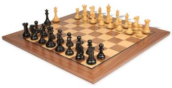 "New Exclusive Staunton Chess Set in Ebonized Boxwood with Walnut Chess Board - 4"" King"