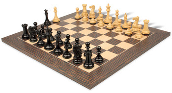 "New Exclusive Staunton Chess Set in Ebony & Boxwood with Striped Tiger Ebony & Maple Chess Board - 3"" King"