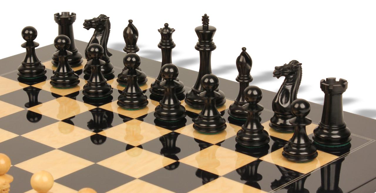 Unique Chess Set New Exclusive Staunton Chess Set In Ebony & Boxwood With Black