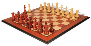 "New Exclusive Staunton Chess Set in African Padauk & Boxwood with Molded Padauk Chess Board - 3"" King"