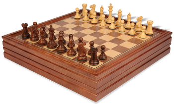 "New Exclusive Staunton Chess Set in Golden Rosewood & Boxwood with Chess & Backgammon Case - 3"" King"