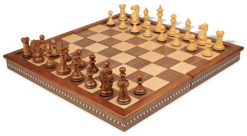 "New Exclusive Staunton Chess Set in Golden Rosewood & Boxwood with Walnut Folding Chess Case - 3"" King"