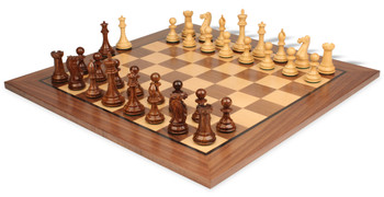 "New Exclusive Staunton Chess Set in Golden Rosewood & Boxwood with Walnut Chess Board - 3"" King"