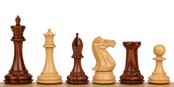 "New Exclusive Staunton Chess Set in Golden Rosewood & Boxwood - 3.5"" King"
