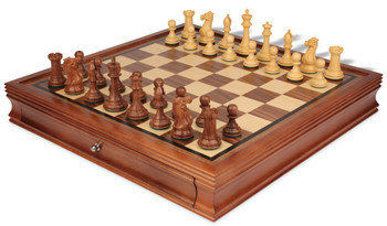 """New Exclusive Staunton Chess Set in Golden Rosewood & Boxwood with Walnut Chess Case - 3.5"""" King"""