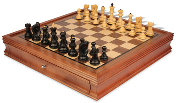 "Yugoslavia Staunton Chess Set in Ebonized Boxwood with Walnut Chess Case - 3.25"" King"