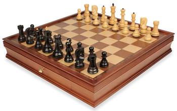 """Yugoslavia Staunton Chess Set in Ebonized Boxwood & Boxwood with Large Walnut Chess Case - 3.875"""" King"""
