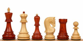 """Yugoslavia Staunton Chess Set in African Padauk & Boxwood - 3.25"""" King"""