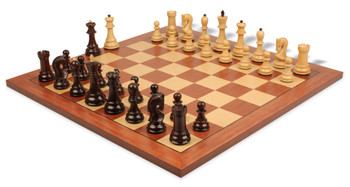 "Yugoslavia Staunton Chess Set in Rosewood & Boxwood with Mahogany & Maple Chess Board - 3.25"" King"