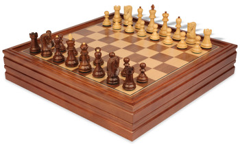 "Yugoslavia Staunton Chess Set in Golden Rosewood & Boxwood with Walnut Chess & Backgammon Case - 3.25"" King"