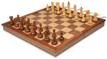 "Yugoslavia Staunton Chess Set in Golden Rosewood & Boxwood with Walnut Folding Chess Case - 3.25"" King"