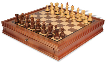 "Yugoslavia Staunton Chess Set in Golden Rosewood & Boxwood with Walnut Chess Case - 3.25"" King"