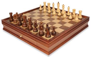 "Yugoslavia Staunton Chess Set in Golden Rosewood & Boxwood with Large Walnut Chess Case - 3.875"" King"
