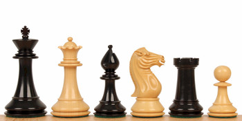 "Pershing Staunton Chess Set in Ebony & Boxwood - 4.25"" King"