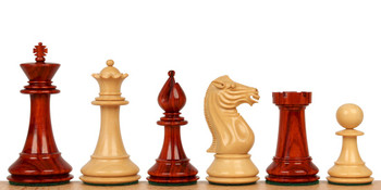 "Pershing Staunton Chess Set in African Padauk & Boxwood - 4.25"" King"