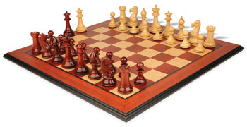 "Pershing Staunton Deluxe Chess Set Package in African Padauk & Boxwood - 4.25"" King"
