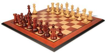 """Pershing Staunton Deluxe Chess Set Package in African Padauk & Boxwood - 4.25"""" King"""
