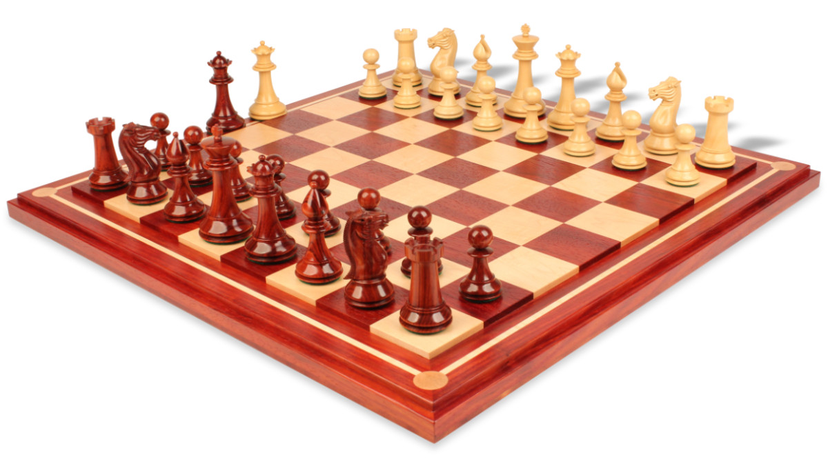 Pershing staunton deluxe chess set package in african padauk boxwood with maple solid wood - Deluxe chess sets ...