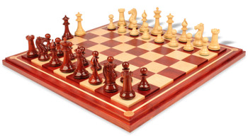 "Pershing Staunton Deluxe Chess Set Package in African Padauk & Boxwood with Maple Solid Wood Chess Board - 4.25"" King"