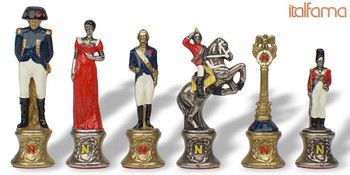 Napoleon Theme Chess Set Brass & Nickel Hand Painted Pieces