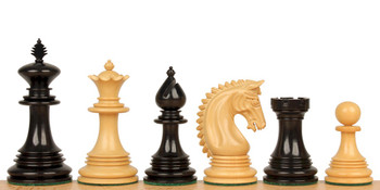 "Patton Staunton Chess Set in Ebony & Boxwood - 4.25"" King"
