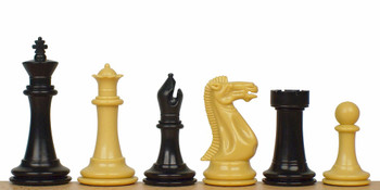 "Executive Plastic Chess Set In Black & Camel - 3.875"" King"