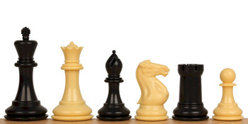 "Conqueror Plastic Chess Set Black & Camel Pieces - 3.75"" King"
