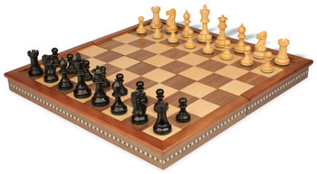 "Parker Staunton Chess Set in Ebonized Boxwood with Walnut Folding Chess Case - 3.25"" King"