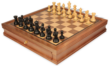 "Parker Staunton Chess Set in Ebonized Boxwood with Walnut Chess Case - 3.25"" King"