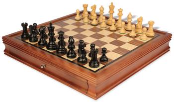 "Parker Staunton Chess Set in Ebonized Boxwood with Walnut Chess Case - 3.75"" King"