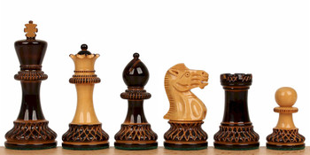 "Parker Staunton Chess Set in Burnt Boxwood & Boxwood - 3.75"" King"