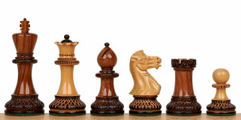 "Parker Staunton Chess Set in Burnt Golden Rosewood  & Boxwood - 3.75"" King"