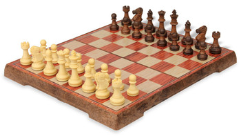 Rosewood Color Folding Magnetic Travel Chess Set - 14""